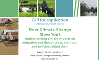 """International summer short course: : """"Does Climate Change Move You? Understanding climate impacts on migration and the concepts, methods, and policies behind them"""""""