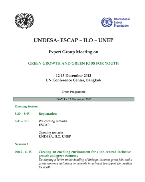 "Expert Group Meeting on ""Green Growth and Green Jobs for Youth"""