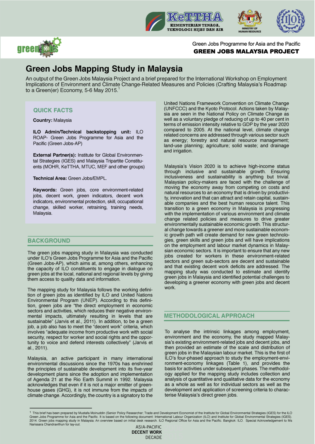 Brief: Snapshot of Green Jobs Mapping Study in Malaysia