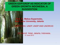 GREEN-GDP/GRDP AS INDICATOR OF GREEN GROWTH INDONESIA; A SUGGESTION