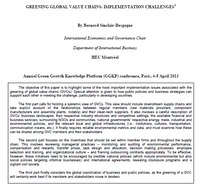 Greening global value chains: Implementation challenges