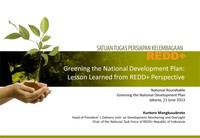 Greening the National Development Plan: Lesson Learned from REDD+ Perspective