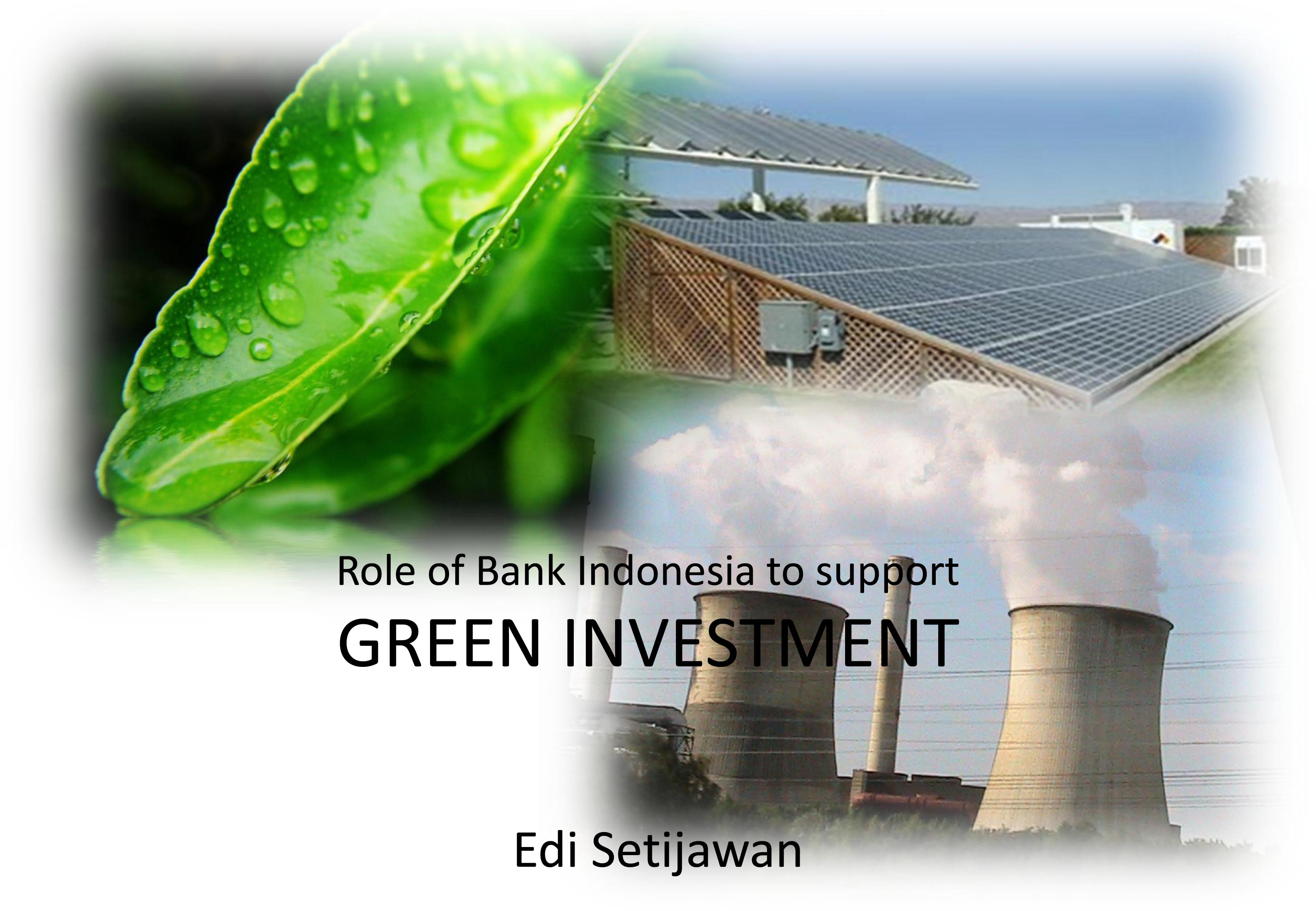 Role of Bank Indonesia to support GREEN INVESTMENT