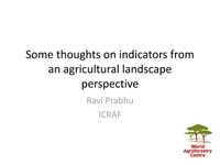Some thoughts on indicators from an agricultural landscape perspective